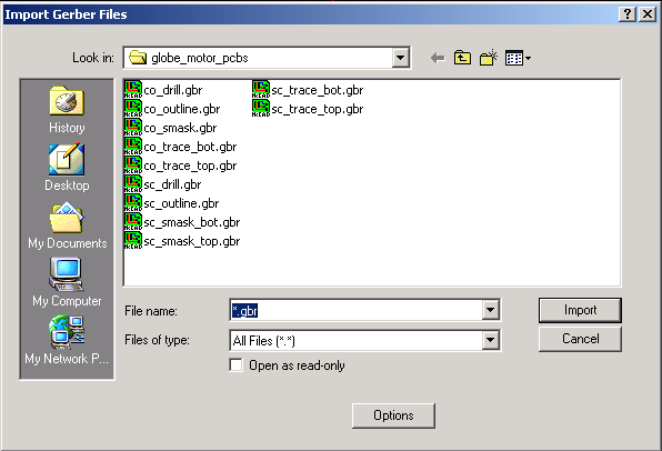 Import Gerber file(s) dialog box
